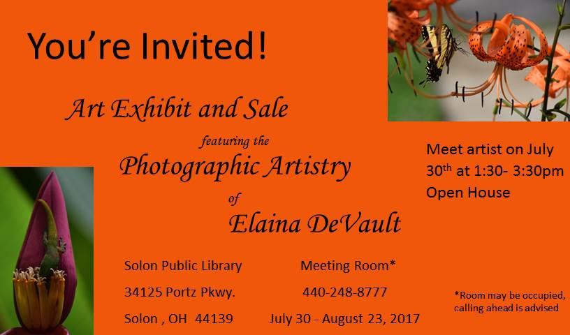 Elaina Solon Photo Exhibit Invitation